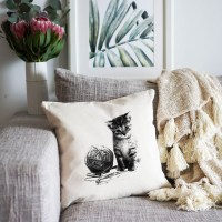 Cat with Yarn Cushion Cover Image 0