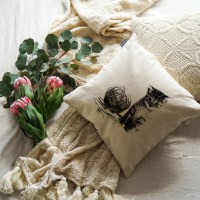 Cat with Yarn Cushion Cover Image 2