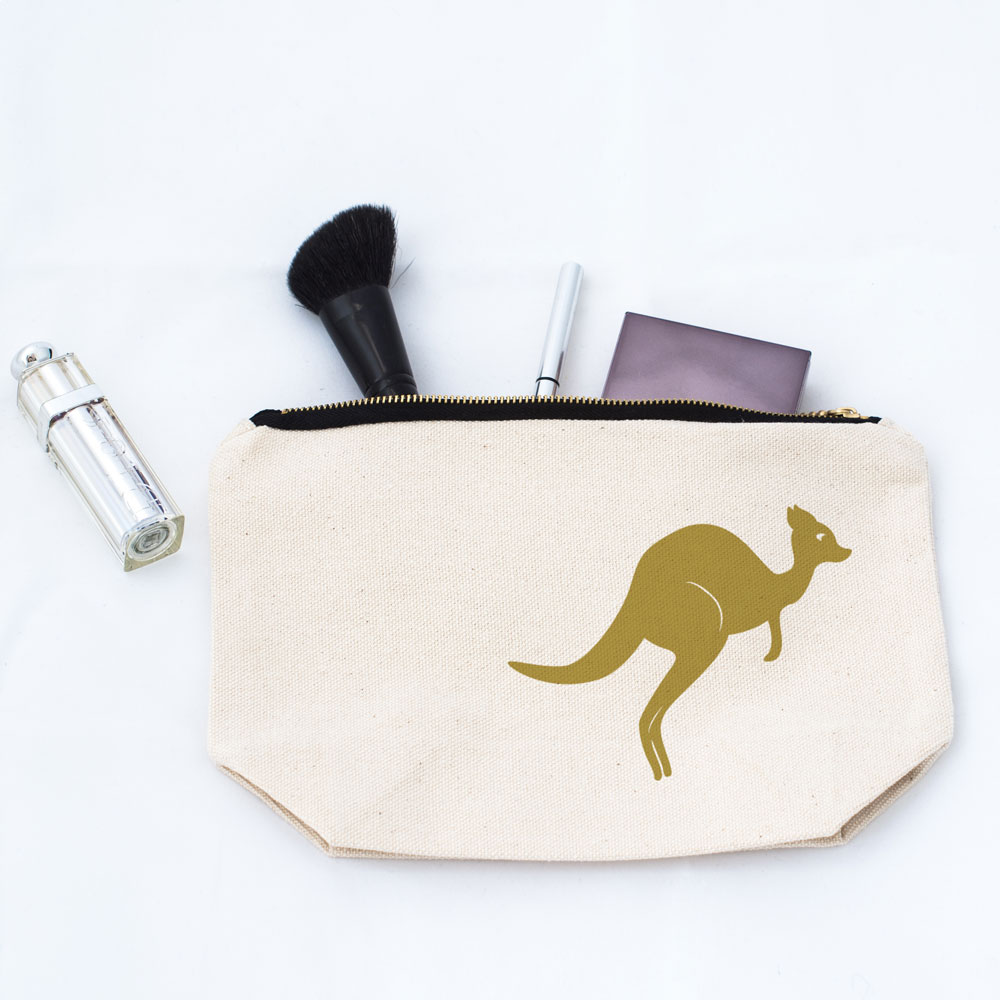 Kangaroo Makeup Bag in Gold