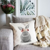 Bunny with Flowers Cushion Cover