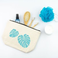 Tropical Leaves Toiletry Bag in Light Blue