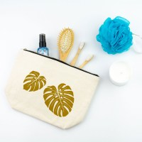Tropical Leaves Toiletry Bag in Gold