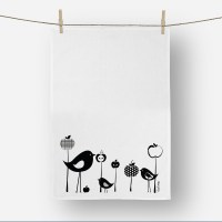 Birds and Apple Tea towel in Black