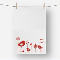 Birds and Apple Tea towel in Red