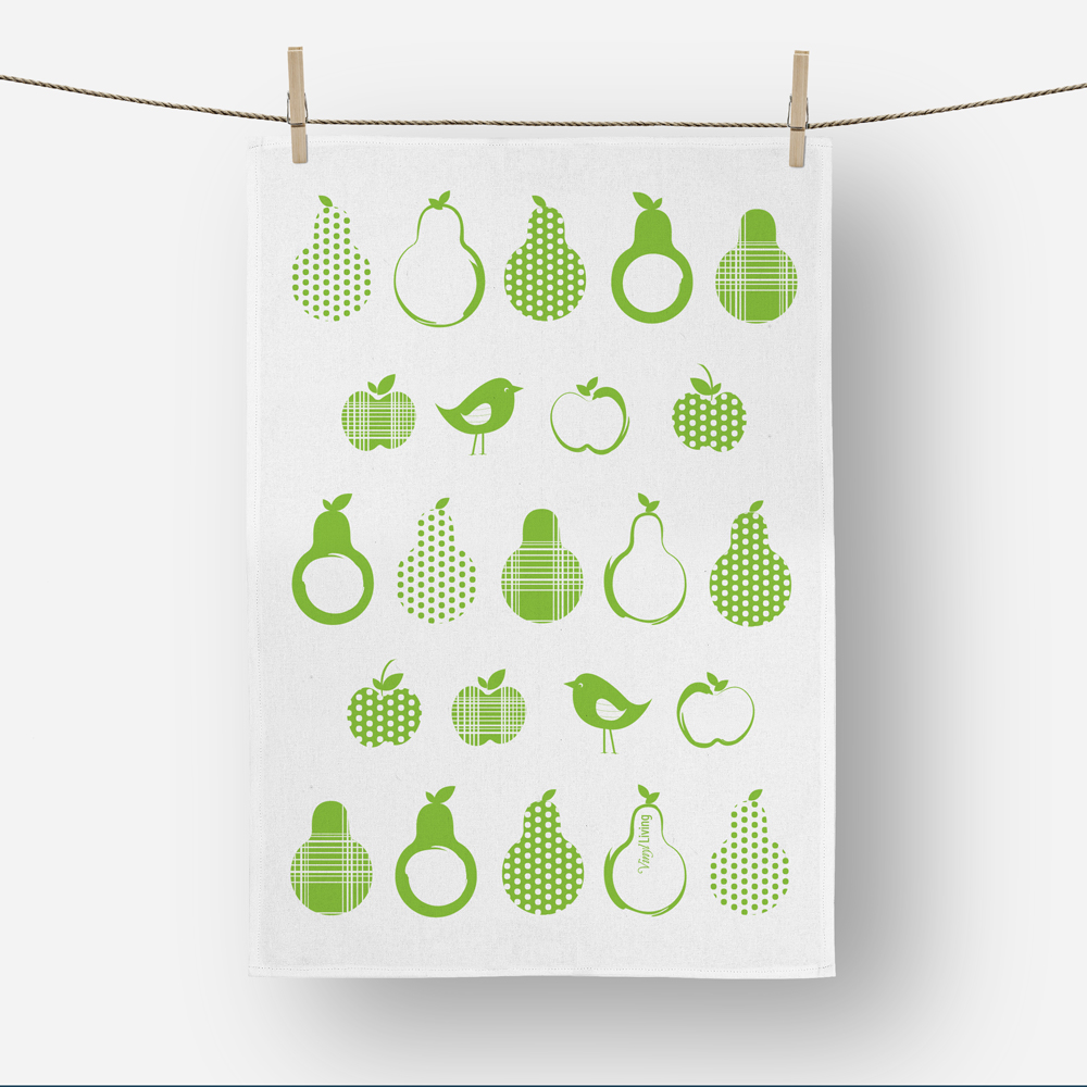 Pears Tea towel in Green